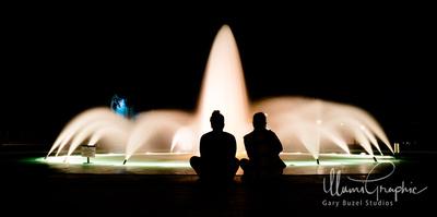 Night Fountain Gaze